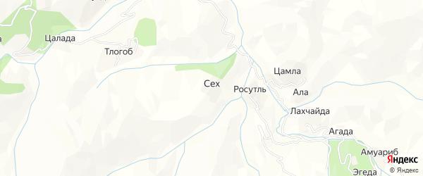 Карта хутора Сеха в Дагестане с улицами и номерами домов