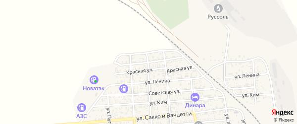 Улица Кудрявцева на карте поселка Нижнего Баскунчака с номерами домов