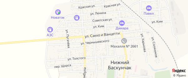 Красноармейская улица на карте поселка Нижнего Баскунчака с номерами домов