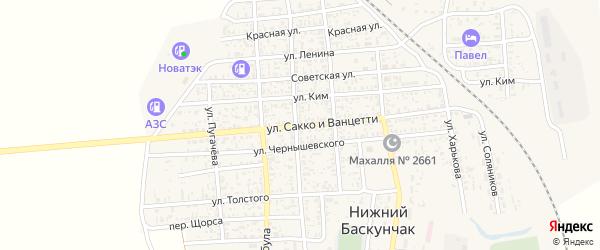 Улица Сакко и Ванцетти на карте поселка Нижнего Баскунчака с номерами домов