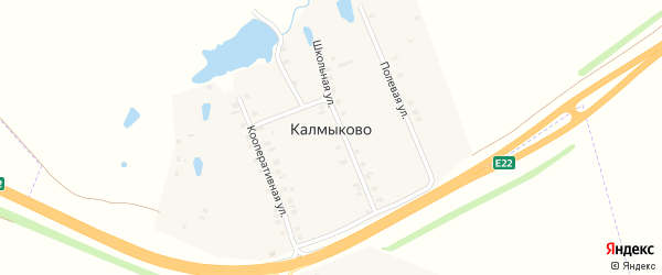 Школьная улица на карте деревни Калмыково с номерами домов