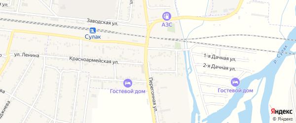 Перегонная улица на карте поселка Нового Сулака с номерами домов