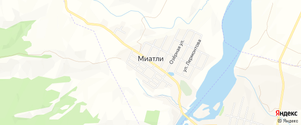 Карта села Миатли в Дагестане с улицами и номерами домов