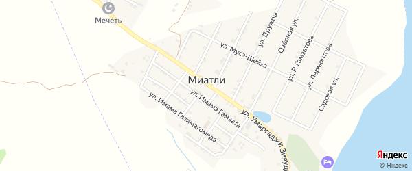 Улица Б.Юсупова на карте села Миатли с номерами домов