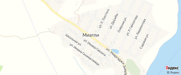 Улица Лермонтова на карте села Миатли с номерами домов