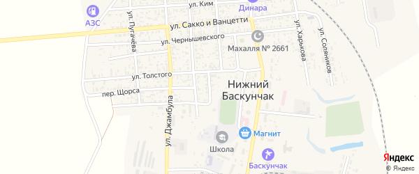 Переулок Толстого на карте поселка Нижнего Баскунчака с номерами домов