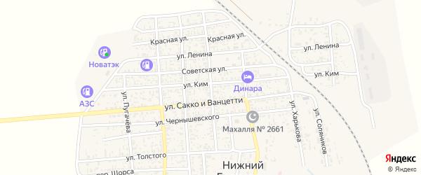 Улица Калинина на карте поселка Нижнего Баскунчака с номерами домов