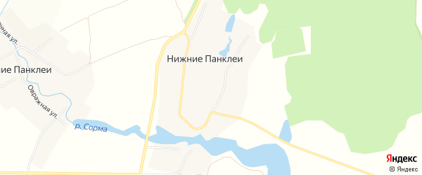 Карта деревни Нижние Панклеи в Чувашии с улицами и номерами домов