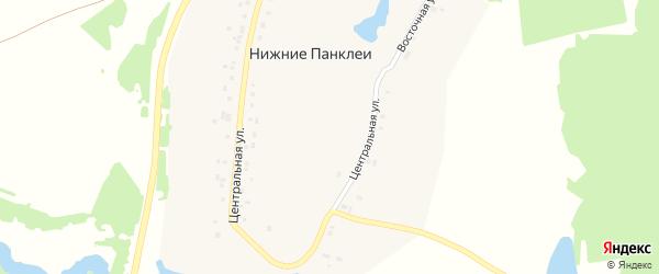 Лесная улица на карте деревни Нижние Панклеи с номерами домов