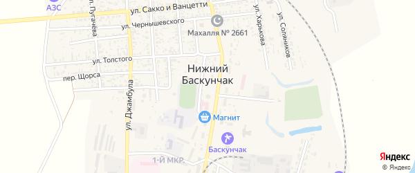 Улица Толстого на карте поселка Нижнего Баскунчака с номерами домов