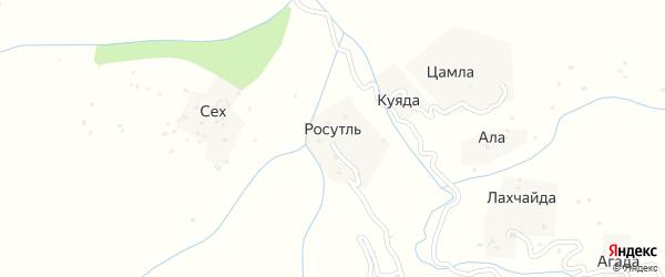 Росотлинская улица на карте хутора Росутля с номерами домов