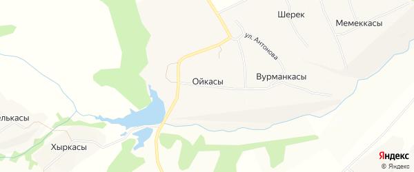 Карта деревни Ойкасы (Тораевское с/п) в Чувашии с улицами и номерами домов
