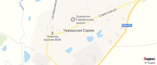 Октябрьская улица на карте села Чувашской Сормы с номерами домов