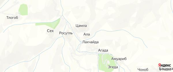 Карта хутора Ала в Дагестане с улицами и номерами домов