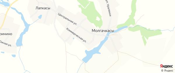 Карта деревни Молгачкасы в Чувашии с улицами и номерами домов