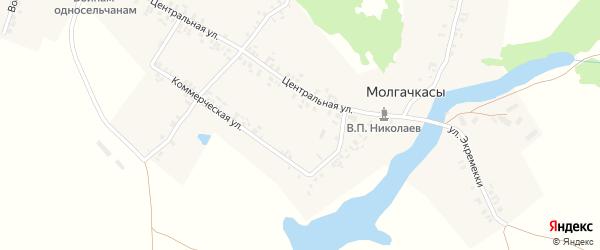 Строительная улица на карте деревни Молгачкасы с номерами домов