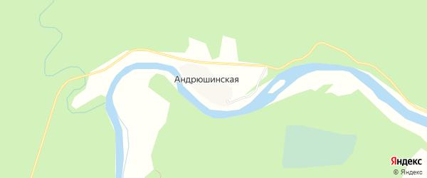 Карта Андрюшинской деревни в Архангельской области с улицами и номерами домов