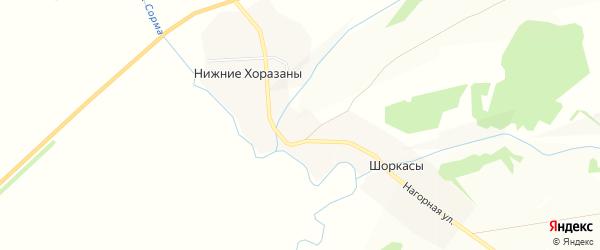 Карта деревни Нижние Хоразаны в Чувашии с улицами и номерами домов