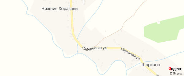 Набережная улица на карте деревни Нижние Хоразаны с номерами домов
