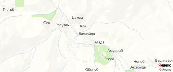 Карта хутора Лахчайды в Дагестане с улицами и номерами домов