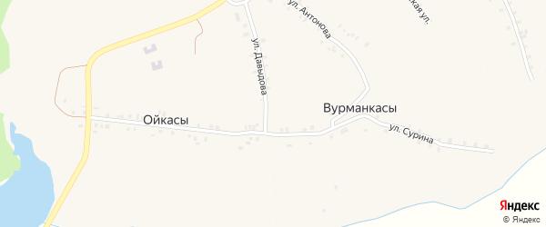 Южная улица на карте деревни Вурманкасы (Орининское с/п) с номерами домов