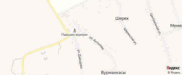 Улица Антонова на карте деревни Вурманкасы (Ильинское с/п) с номерами домов