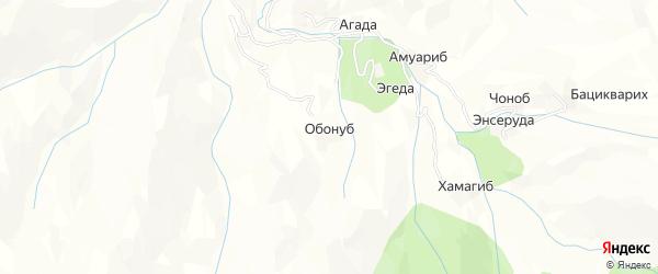 Карта хутора Обонуба в Дагестане с улицами и номерами домов