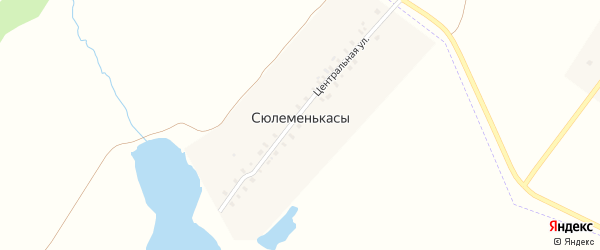 Центральная улица на карте деревни Сюлеменькас с номерами домов