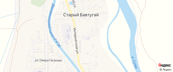 Интернатская улица на карте поселка Бавтугая с номерами домов