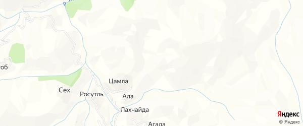 Карта хутора Цамла в Дагестане с улицами и номерами домов