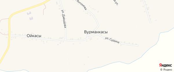 Центральная улица на карте деревни Вурманкасы (Юськасинское с/п) с номерами домов