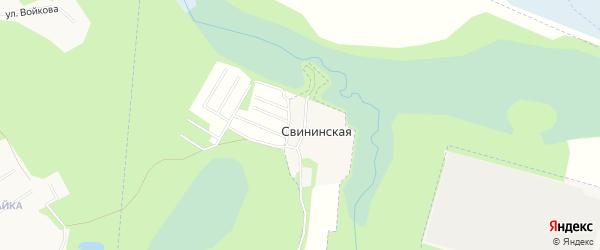 Карта Свининской деревни города Котласа в Архангельской области с улицами и номерами домов