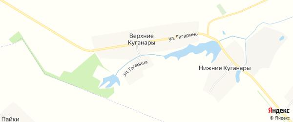Карта деревни Верхние Куганары в Чувашии с улицами и номерами домов