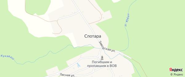 Заводская улица на карте поселка Спотары с номерами домов