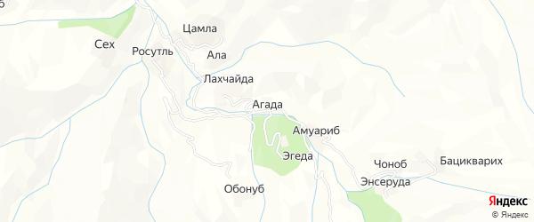 Карта села Агады в Дагестане с улицами и номерами домов