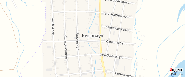 Улица Махача Исаева на карте села Кироваула с номерами домов