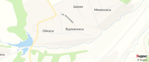 Карта деревни Вурманкасы (Ильинское с/п) в Чувашии с улицами и номерами домов