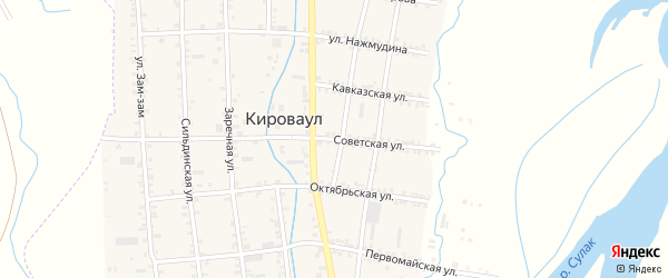 Советская улица на карте села Кироваула с номерами домов