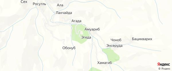 Карта хутора Эгеды в Дагестане с улицами и номерами домов