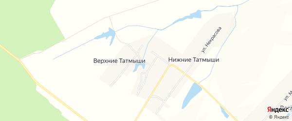 Карта деревни Верхние Татмыши в Чувашии с улицами и номерами домов