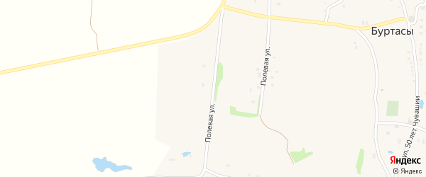 Полевая улица на карте деревни Буртасов с номерами домов