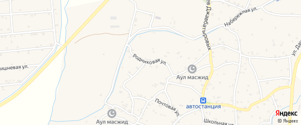 Родниковая улица на карте села Костека с номерами домов