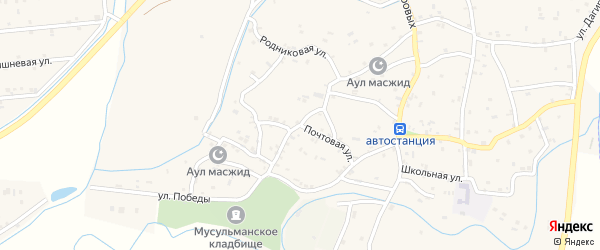 Почтовая улица на карте села Костека с номерами домов