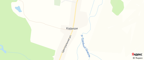 Карта деревни Кадыши в Чувашии с улицами и номерами домов