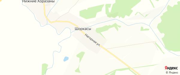 Карта деревни Шоркасы в Чувашии с улицами и номерами домов