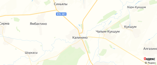 Карта Калининского сельского поселения республики Чувашия с районами, улицами и номерами домов