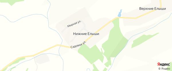 Карта деревни Нижние Елыши в Чувашии с улицами и номерами домов