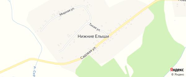 Мирная улица на карте деревни Нижние Елыши с номерами домов