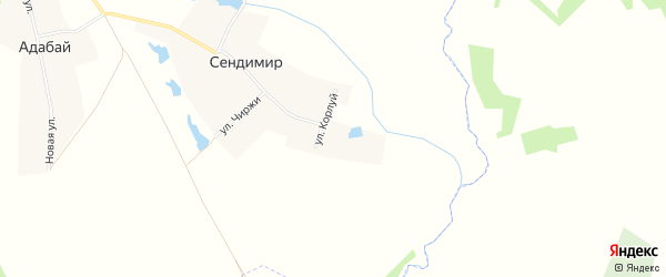 Карта деревни Сендимира в Чувашии с улицами и номерами домов
