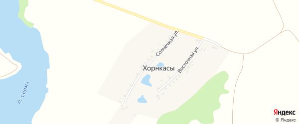 Солнечная улица на карте деревни Хорнкасы с номерами домов